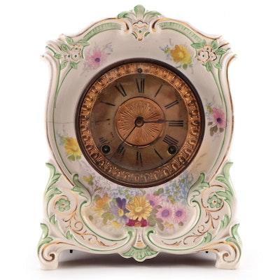 """Ansonia Clock Co. """"La Tour"""" Floral Royal Bonn Porcelain Case Mantle Clock, 1882"""