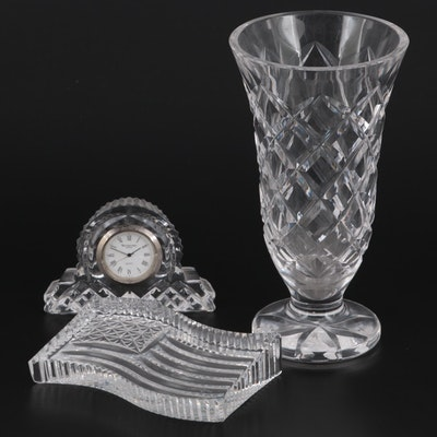 """Waterford """"Comeragh"""" Crystal Vase with Clock and American Flag Paperweight"""