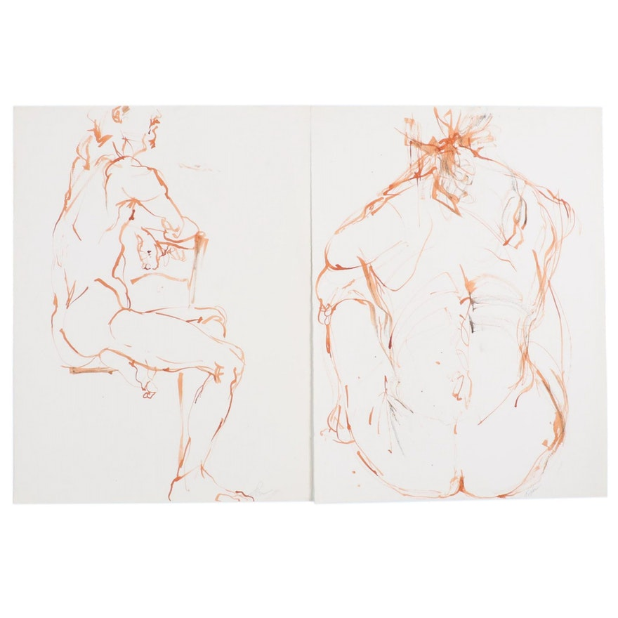 John Tuska Figure Study Ink Drawings, Mid to Late 20th Century