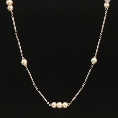 Platinum Pearl Station Necklace