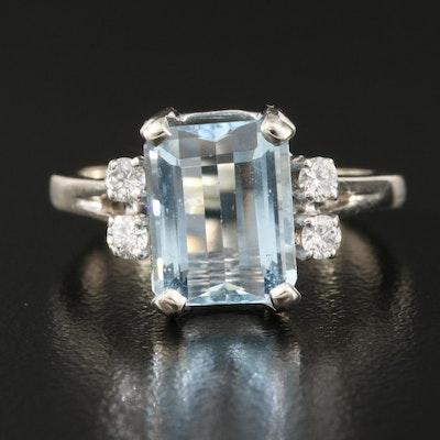 14K 2.21 CT Aquamarine and Diamond Ring