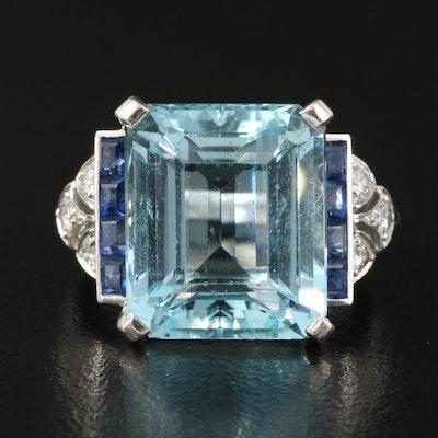 1950s Tiffany & Co. Platinum 9.78 CT Aquamarine and Sapphire Ring