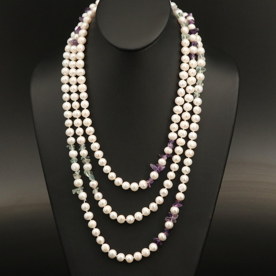 Pearl, Amethyst and Prasiolite Endless Necklace