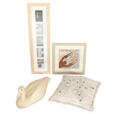Decorative Wooden Duck, Picture Frame, Art Print, and Throw Pillow