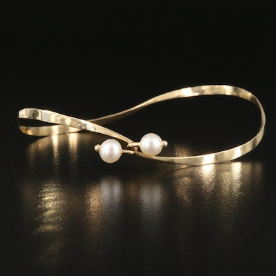 14K Pearl Hammered Contour Tension Bangle