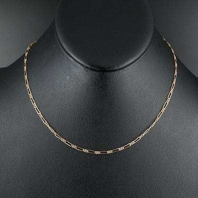 18K Figaro Chain Necklace