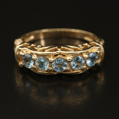 14K Aquamarine Ring with Scalloped and Floral Openwork Gallery