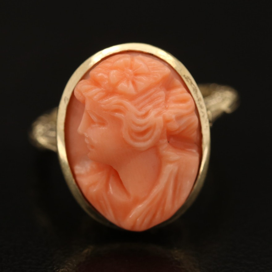 Vintage 14K Coral Cameo Ring