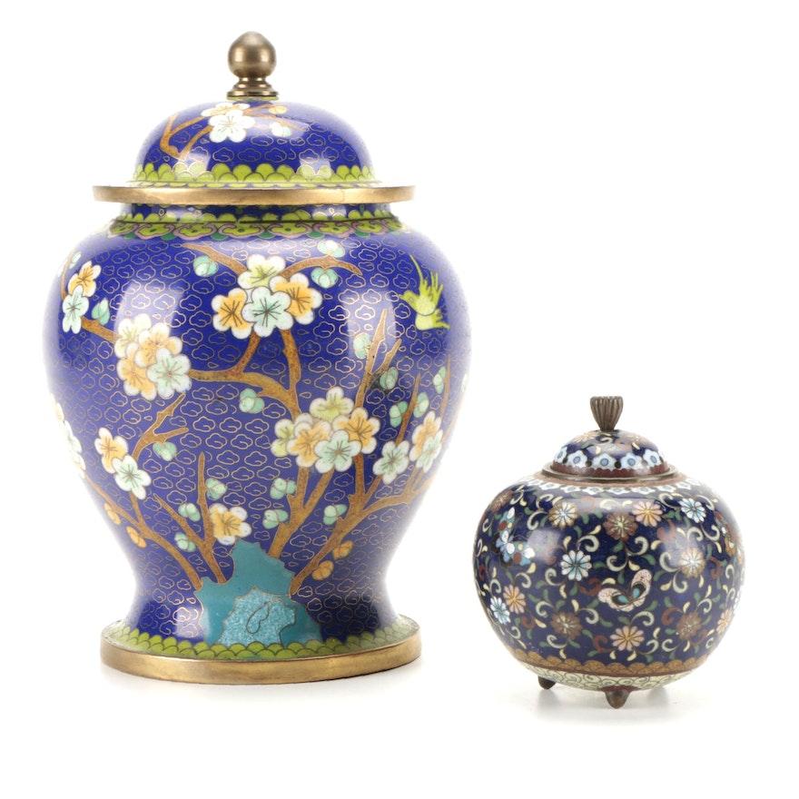 Chinese Cloisonné Covered Jar with Japanese Cloisonné Tripod Jar