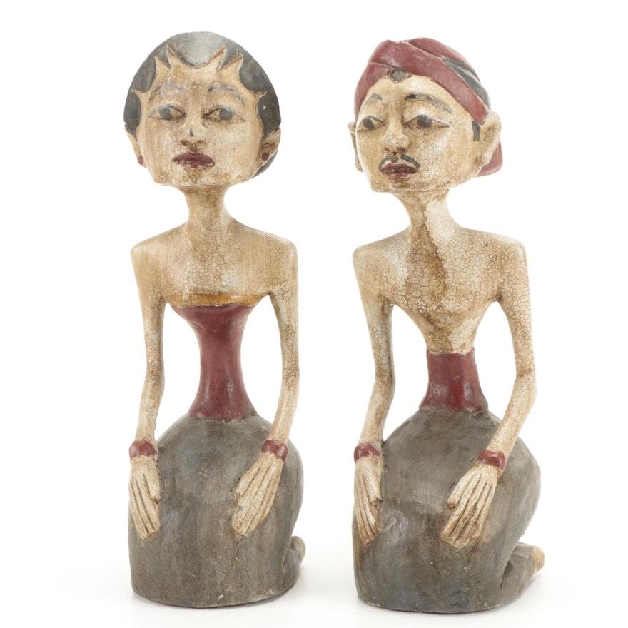 Javanese Carved Wood Loro Blonyo Wedding Couple Figures