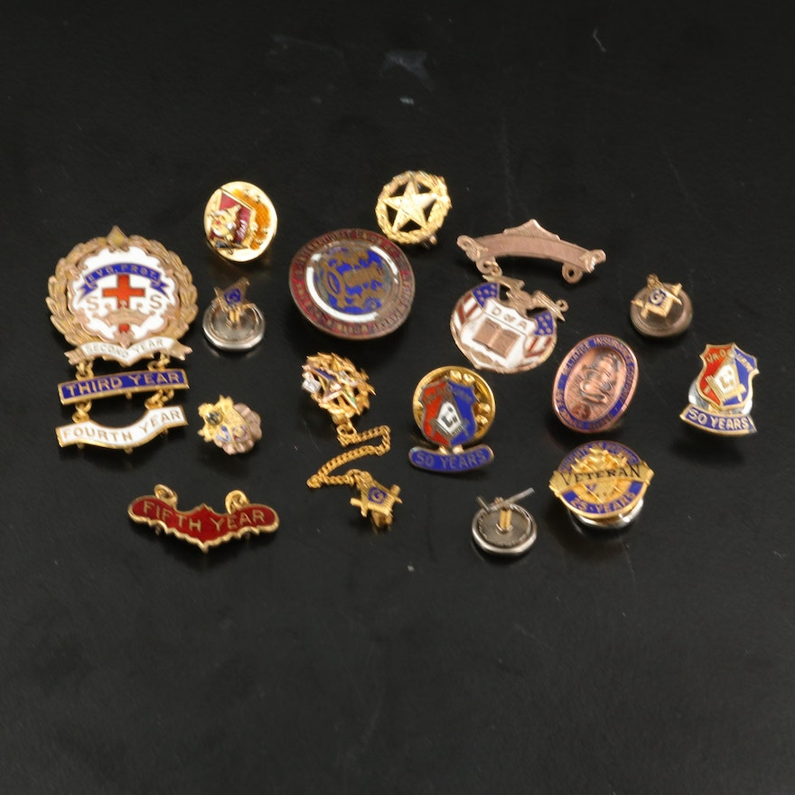 Vintage Masonic and Other Membership Pins Including 10K and Sterling