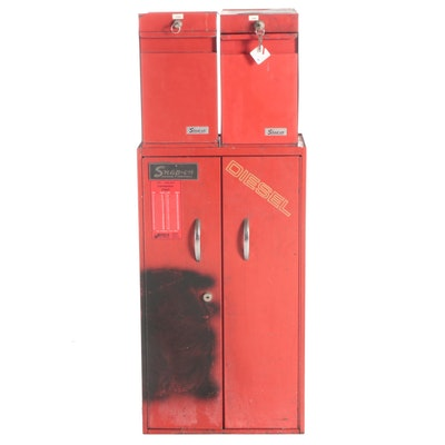 Snap-On Metal Wall Mount Tool Cabinet and Organizing Drawers, Mid to Late 20th C