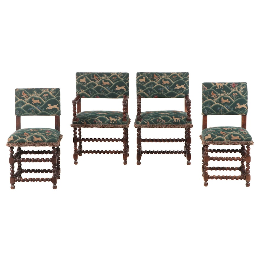 Four Jacobean Revival Carved Oak and Beech Dining Chairs