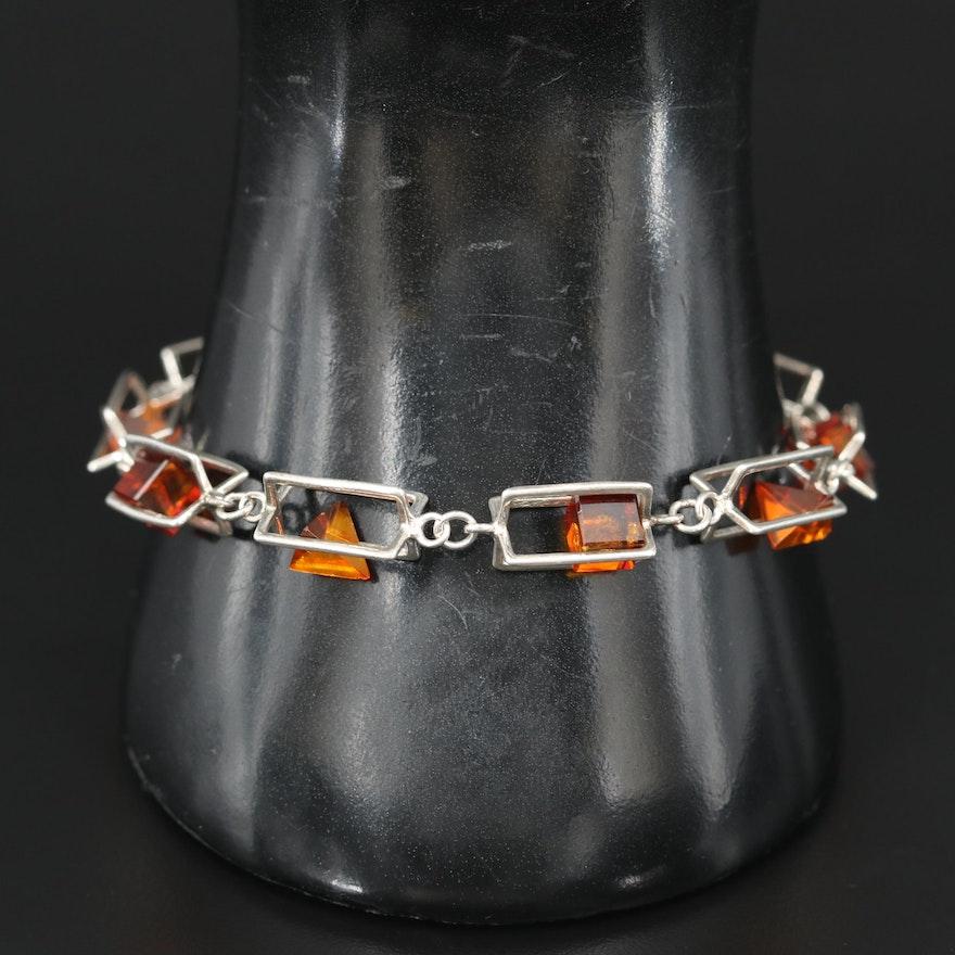 Sterling Amber Geometric Cage Link Bracelet