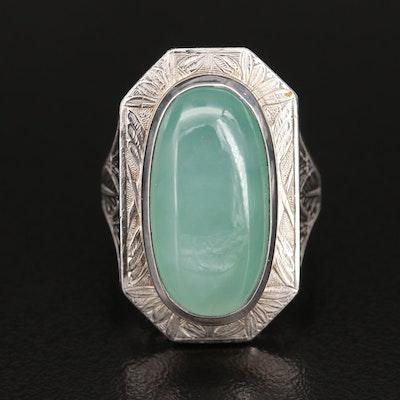Platinum Jadeite Pointer Ring
