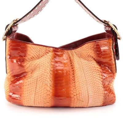 BE & D Shoulder Bag in Orange Python Skin with Studded Leather Trim