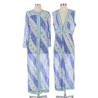 Emilio Pucci for Formfit Rogers Peignoir Set in Patterned Nylon Tricot