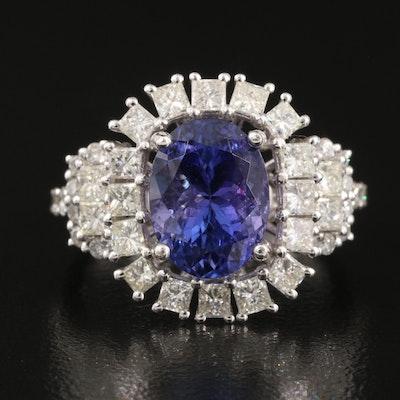 14K 4.17 CT Tanzanite and 1.72 CTW Diamond Halo Ring