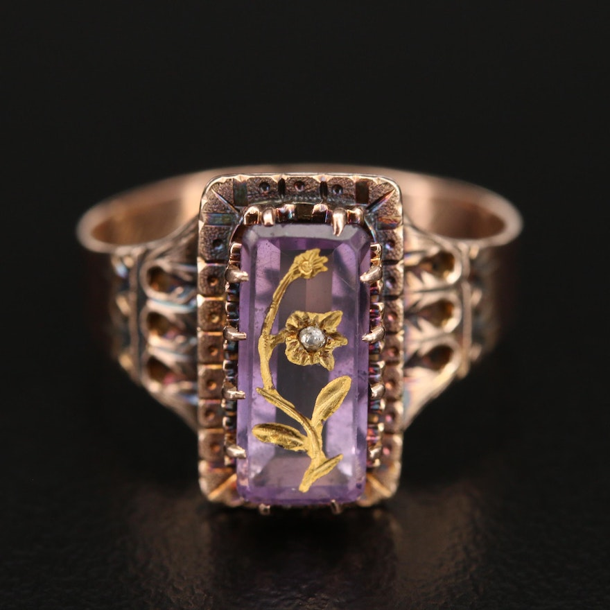 Victorian 10K Amethyst and Diamond Floral Ring