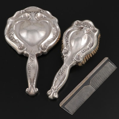 Art Nouveau Attleboro Chain Co. Brush and Hand Mirror and Other Comb