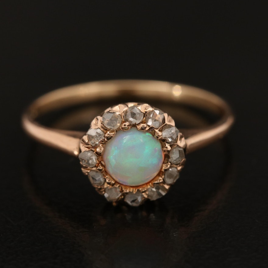 Antique 14K Opal and Diamond Ring