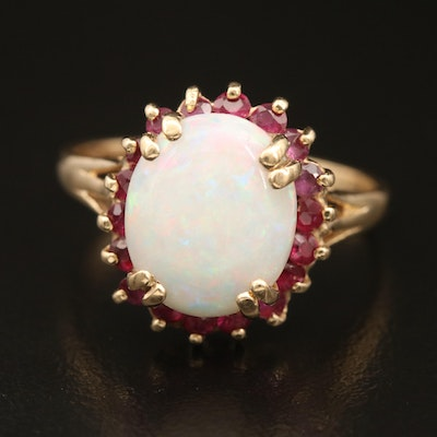 14K Opal and Ruby Halo Ring