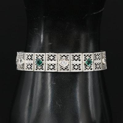 Art Deco 14K Sapphire and Garnet Glass Double Lattice Line Bracelet