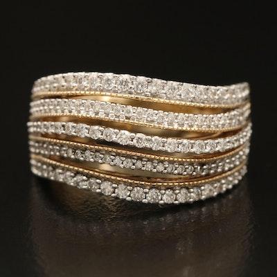 14K 0.75 CTW Diamond Multi Row Wave Ring