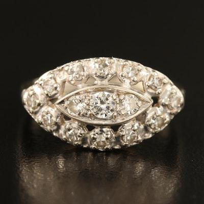 Vintage 14K 0.55 CTW Diamond East-West Navette Ring