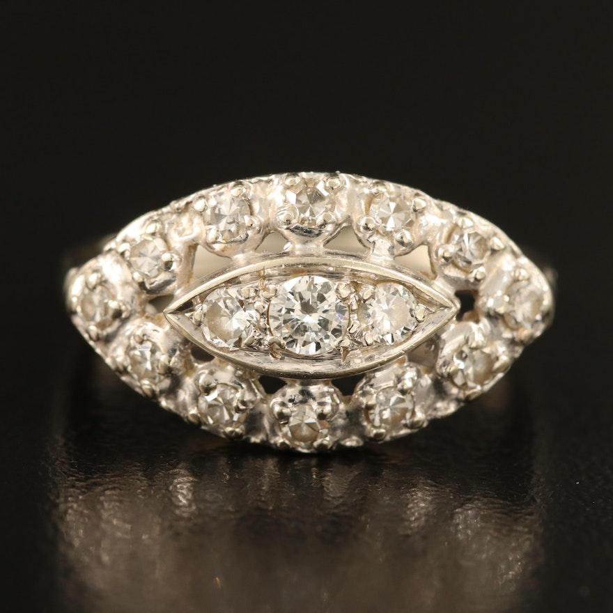 Vintage 14K 0.55 CTW Diamond Navette Ring
