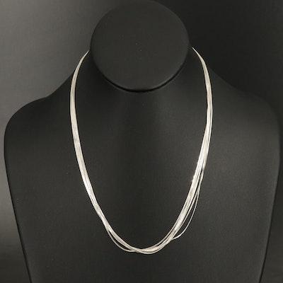 Italian Sterling Seven Strand Serpentine Chain Necklace