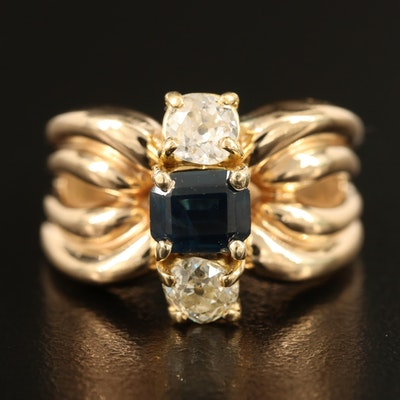 Vintage 14K Sapphire and Diamond Ring with Fluted Shoulders