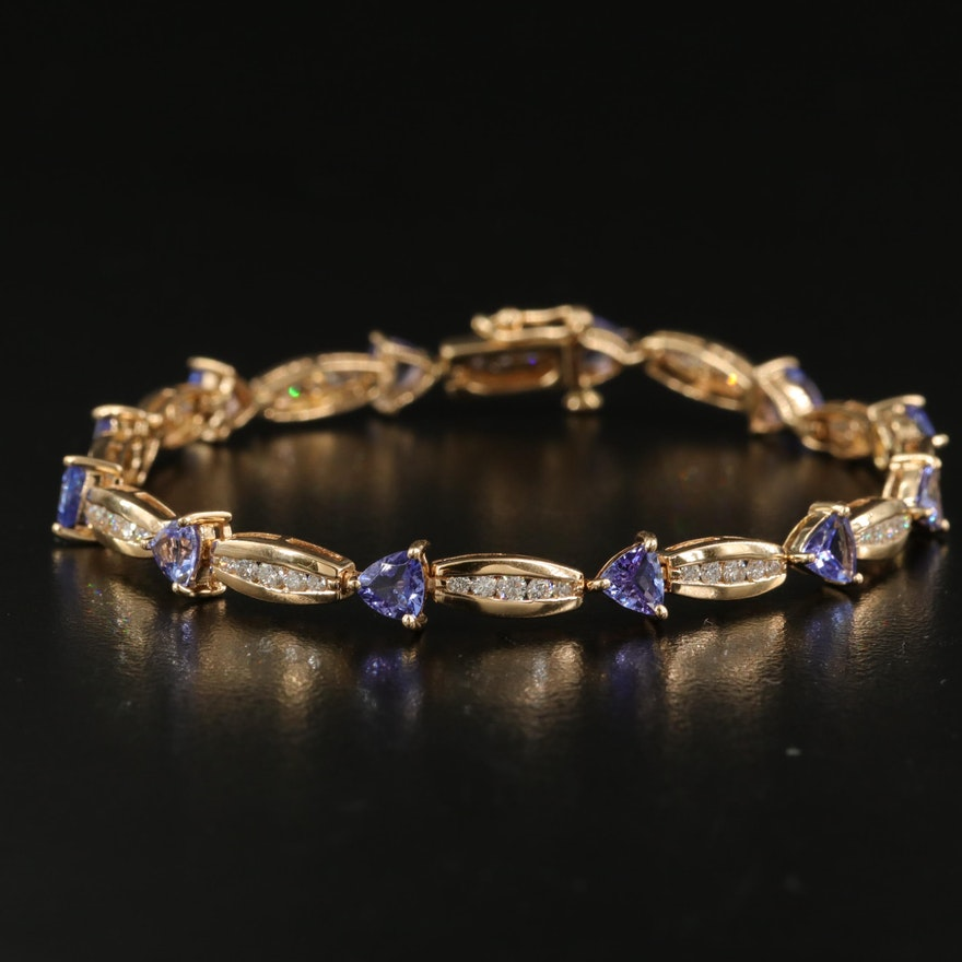 14K Tanzanite and 1.20 CTW Diamond Bracelet