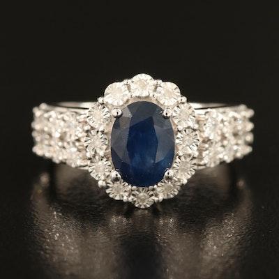 14K 1.70 CT Sapphire and Diamond Ring