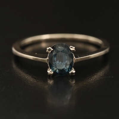 14K Sapphire Solitaire Ring with Star Prongs
