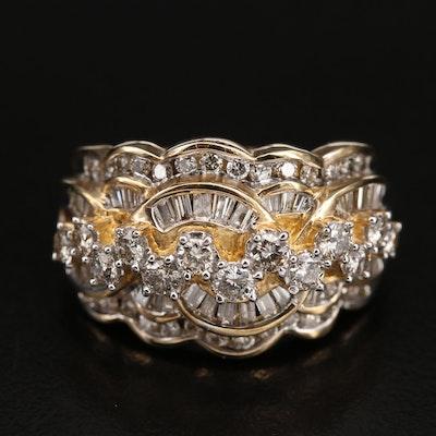 10K 1.50 CTW Diamond Scalloped Ring