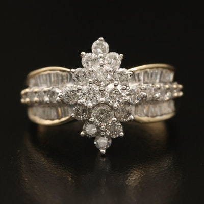 14K 1.35 CTW Diamond Cluster Ring