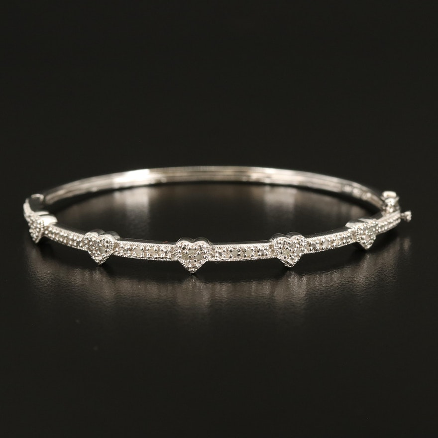 Sterling Diamond Heart Accented Hinged Bangle