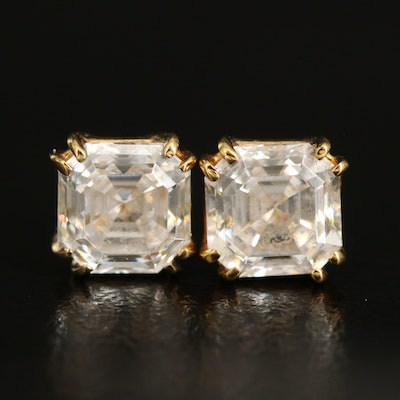 14K Square Faceted Cubic Zirconia Stud Earrings