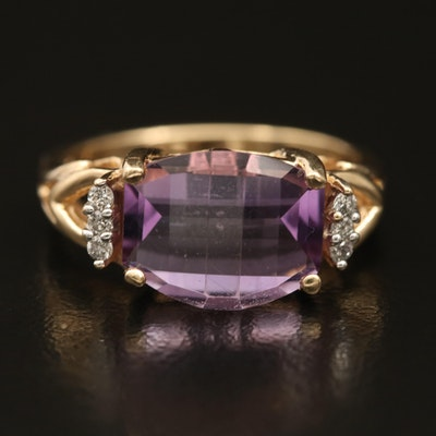 14K Amethyst and Diamond East-West Ring