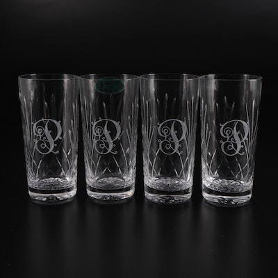 Taunton Crystal Monogrammed Drinking Glasses, Mid to Late 20th Century