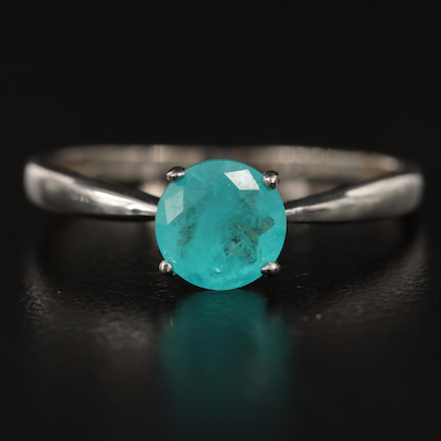 10K Glass and Beryl Triplet Solitaire Ring