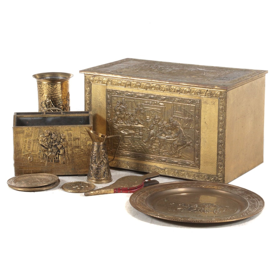 Dutch Style Brass Repoussé Chest, Plates and Hearth Accessories