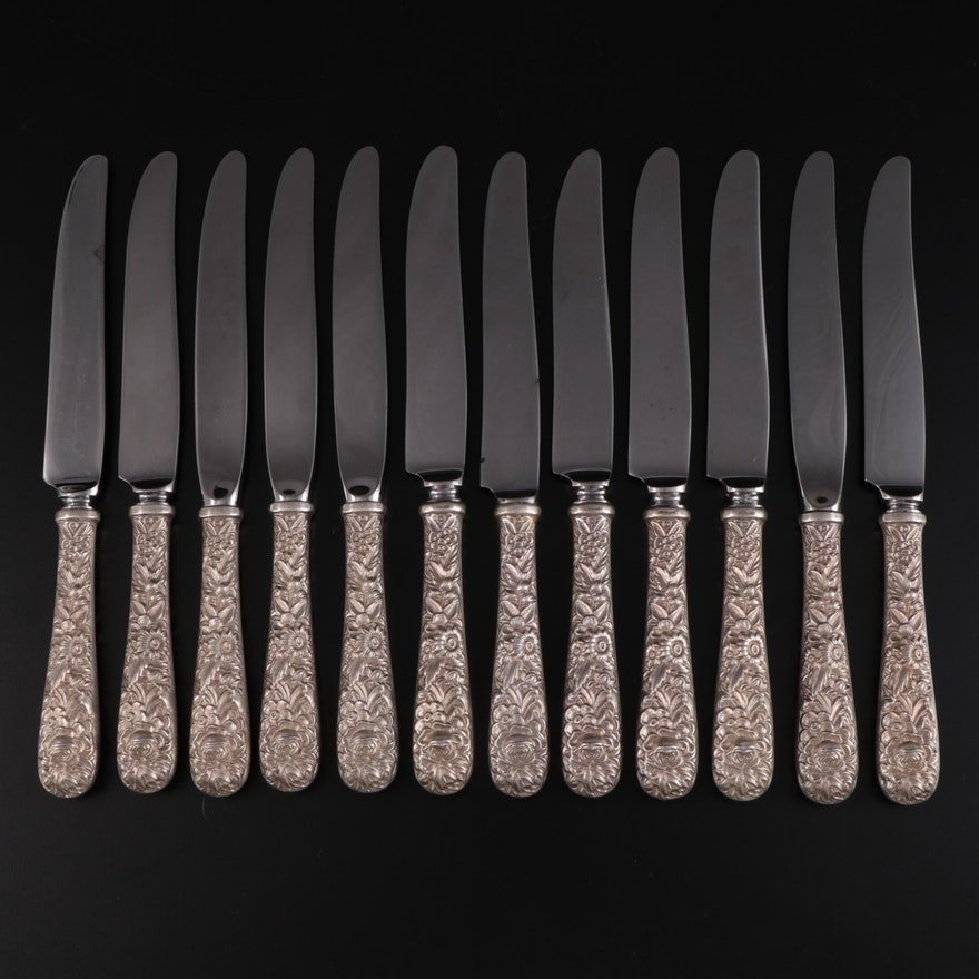 """S. Kirk & Son """"Repoussé"""" Sterling Silver Handled Knives"""