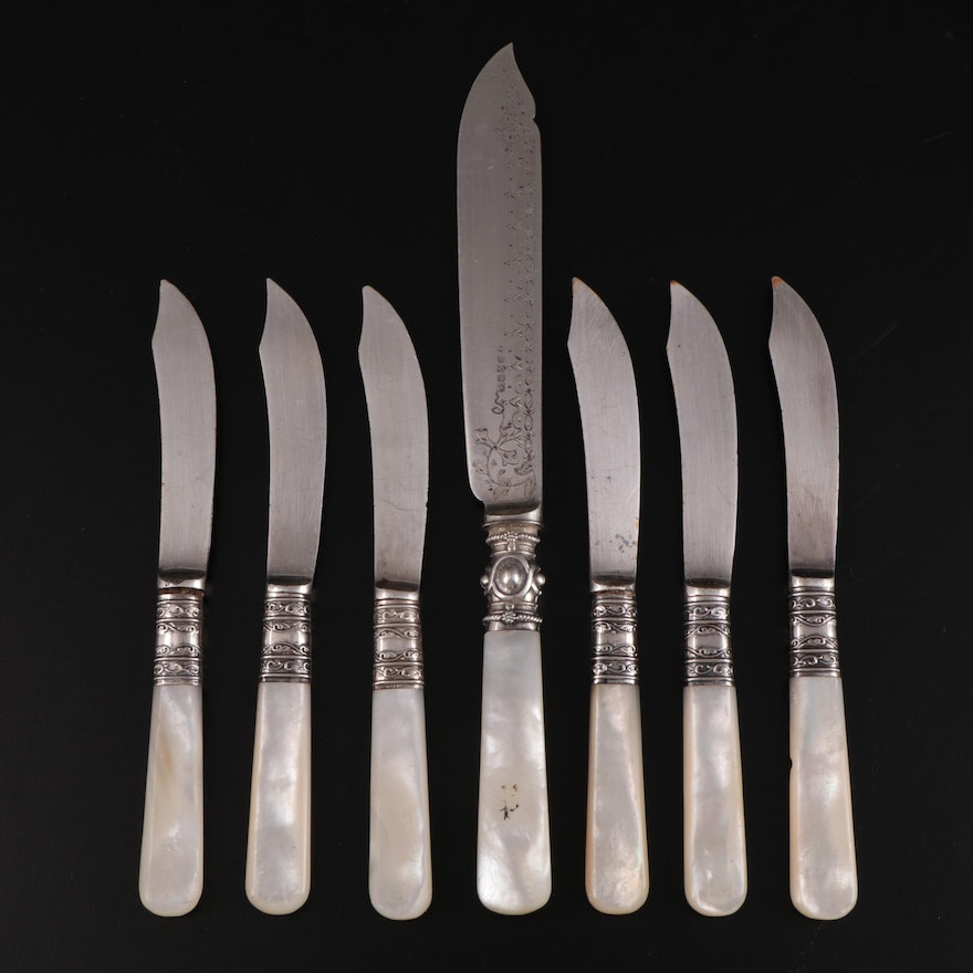 Meriden Cutlery Co. Sterling Silver and Mother-of-Pearl Handled Butter Knives