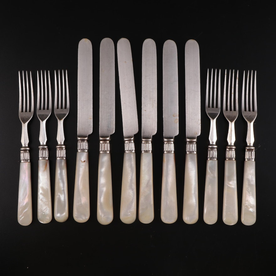 Levesley Brothers Silver Plate Mother-of-Pearl Handled Flatware, 20th Century