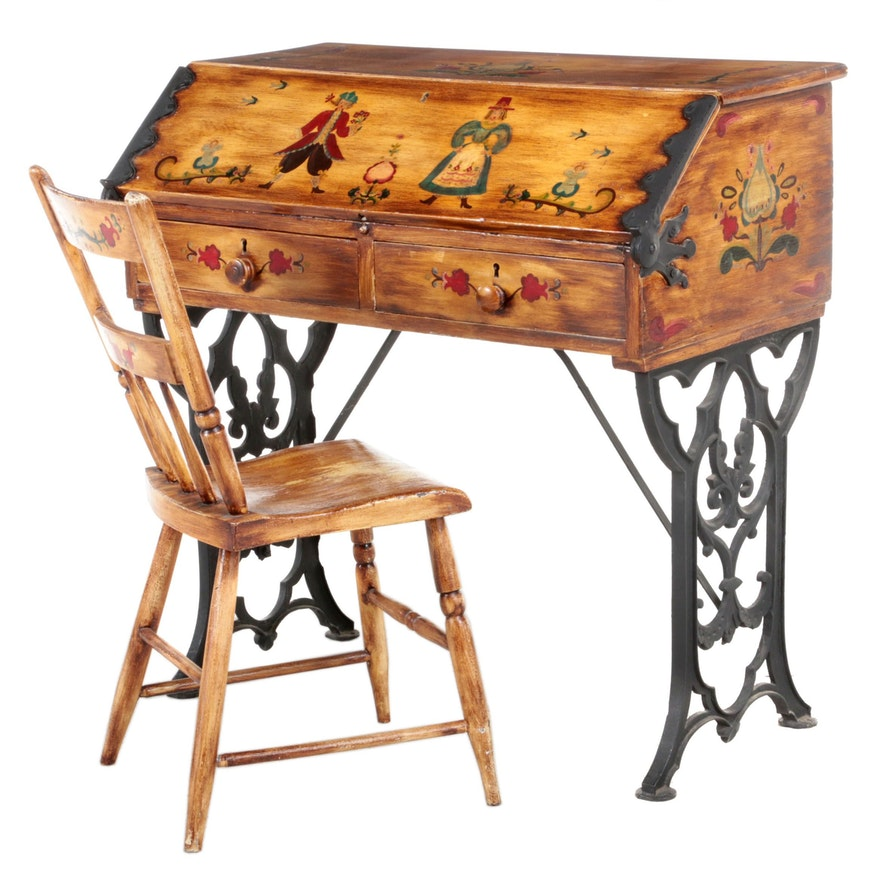 Peter Hunt Folk-Painted Pennsylvania Dutch Style Desk and Chair