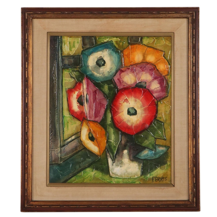 Roberta Ferris Floral Still Life Oil Painting, Circa 1960