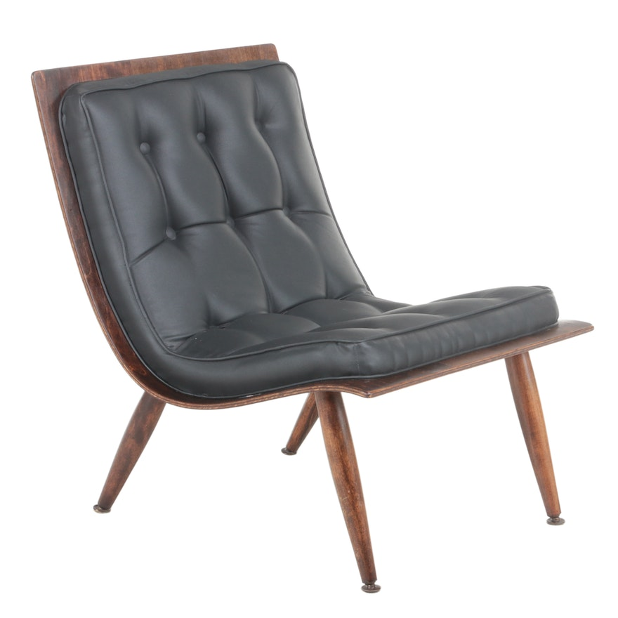 """Carter Brothers Mid Century Modern Birch Plywood """"Scoop"""" Chair in Knoll Fabric"""