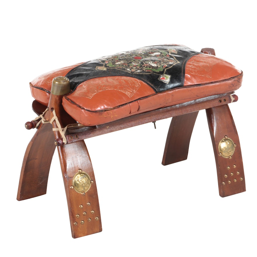 Egyptian Brass-Mounted Beech and Leather Camel Saddle Stool, 20th Century